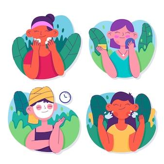 Verzameling van getekende vrouwen die haar huidverzorgingsroutine doen
