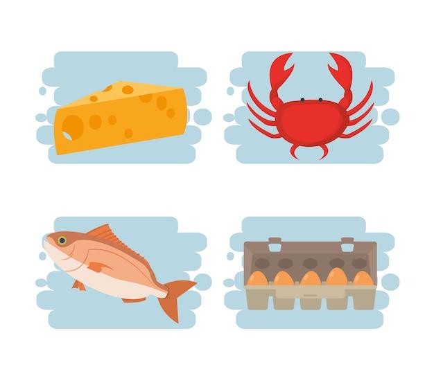 Verzameling van gezonde voedselingrediënten collectie