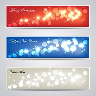 Verzameling van glinsterende kerst banners