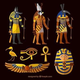 Verzameling van goden en symbolen van egypte
