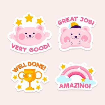 Verzameling van goed werk en goed werk stickers