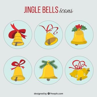 Verzameling van goud jingle bells