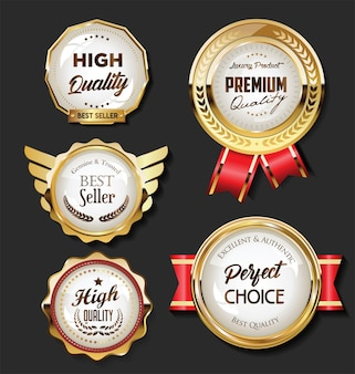 Verzameling van gouden badges en labels retro