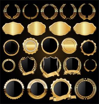 Verzameling van gouden badges etiketten lauweren en linten