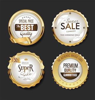 Verzameling van gouden badges, labels en tags