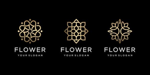 Verzameling van gouden bloemen met lijnstijl