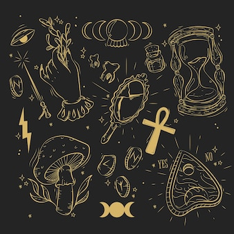 Verzameling van gouden esoterische elementen