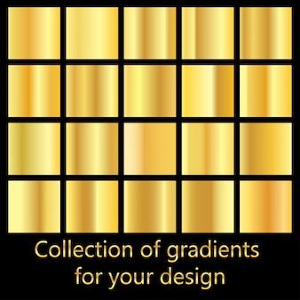 Verzameling van gouden gradiënt achtergronden. set van metalen structuren.