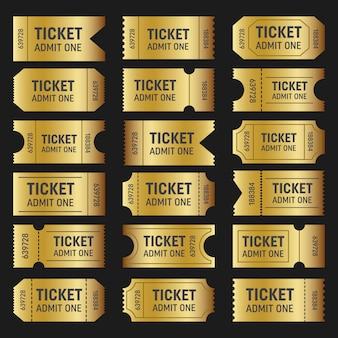 Verzameling van gouden kaartjes. sjablonen film, bioscoop.