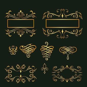 Verzameling van gouden kalligrafische ornamenten