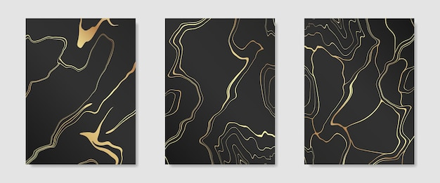Verzameling van gouden kintsugi op donkere achtergrondomslagontwerpsjablonen