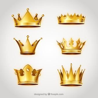 Verzameling van gouden kronen
