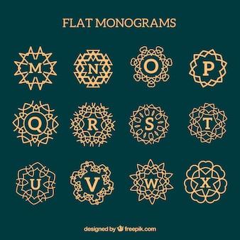 Verzameling van gouden monogrammen in plat ontwerp