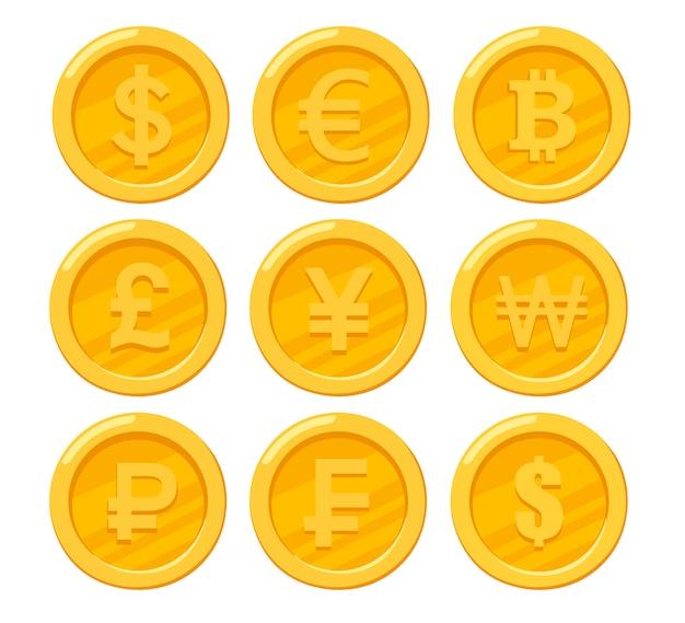 Verzameling van gouden munten. dollar, euro, roebel, bitcoin, yen. negen muntpictogrammen. illustratie op witte achtergrond