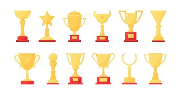 Verzameling van gouden trofee beker