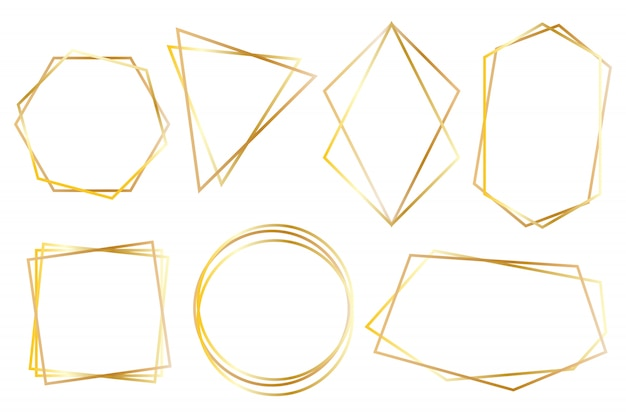 Verzameling van gouden veelhoekige luxe frames