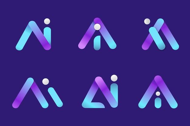 Verzameling van gradiënt ai-logo sjablonen