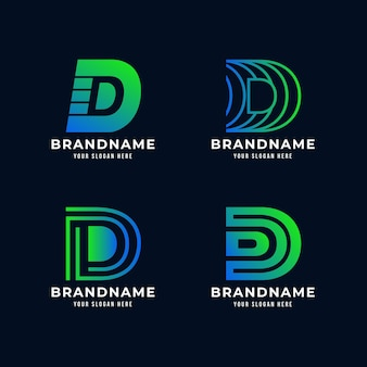 Verzameling van gradiënt d-logo's Premium Vector