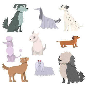 Verzameling van grappige cartoonillustraties met verschillende hondenrassen.