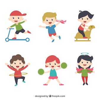 Verzameling van grappige kinderen spelen