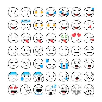 Verzameling van grappige klassieke emoji's.