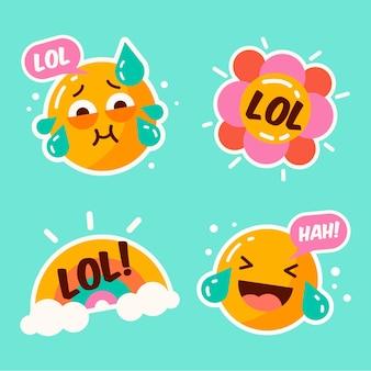 Verzameling van grappige kleurrijke stickers