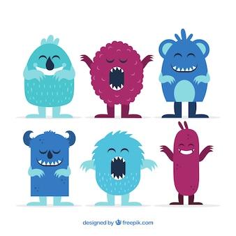 Verzameling van grappige monsters in vlakke stijl
