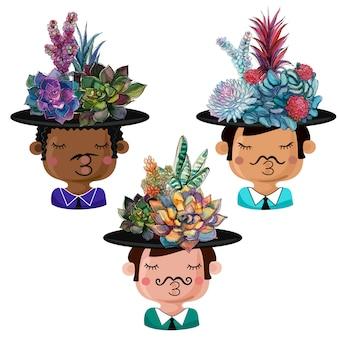Verzameling van grappige potten in de vorm van jongens met boeketten van vetplanten