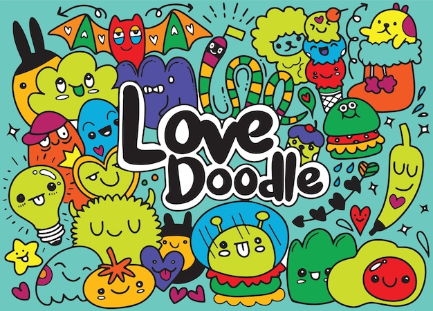 Verzameling van grappige schattige monsters voor kinderen kleurboeken