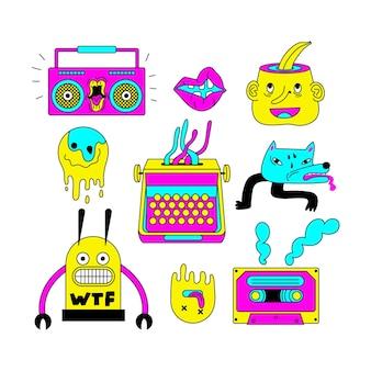 Verzameling van grappige stickers