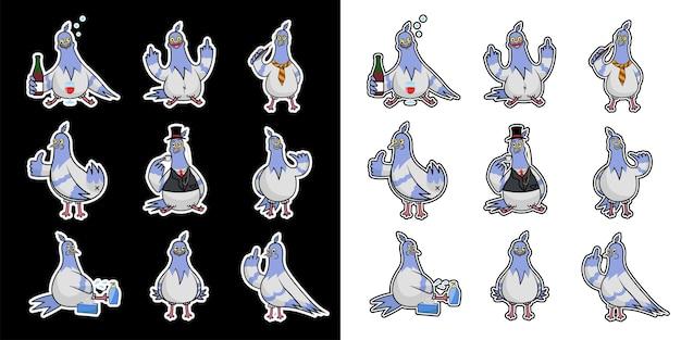 Verzameling van grappige vectorafdrukken met duiven