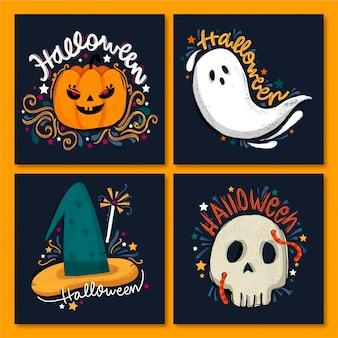 Verzameling van griezelige halloween-kaarten