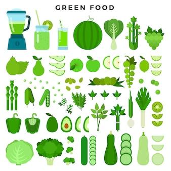 Verzameling van groen gekleurde voedsel: groenten, fruit en sappen, platte pictogramserie.