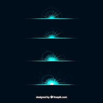 Verzameling van groene lens flare divider