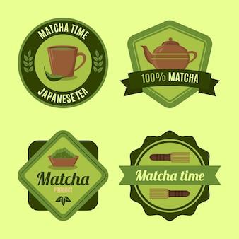Verzameling van groene matcha theebadges