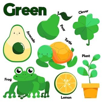 Verzameling van groene objecten en woordenschatwoorden in het engels