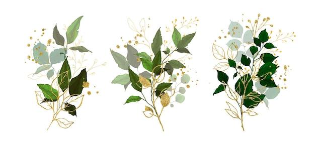 Verzameling van groene takbladeren