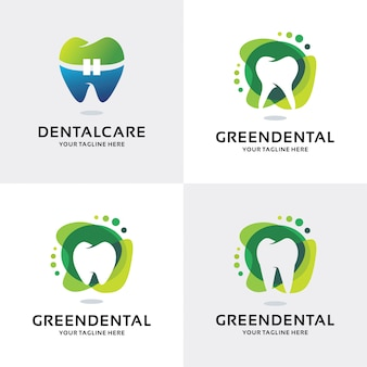 Verzameling van groene tandheelkundige logo set ontwerpsjabloon