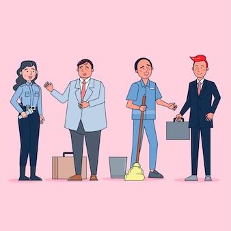 Verzameling van grote reeks geïsoleerde verschillende beroepen of beroepsmensen die professionele uniforme, platte illustratie dragen.