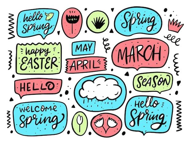 Verzameling van hallo lente-bubbeltoespraak