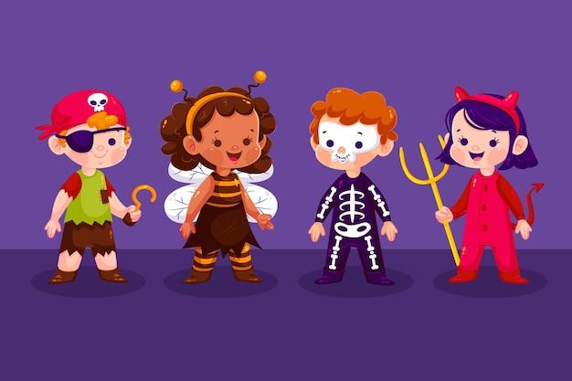 Verzameling van halloweek kid in plat design