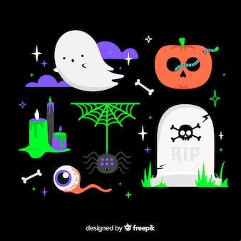 Verzameling van halloween-elementen in plat ontwerp