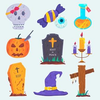 Verzameling van halloween-elementen