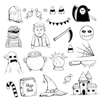 Verzameling van halloween-iconen met doodle of schets stijl