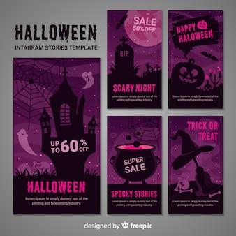 Verzameling van halloween instagram-verhalen