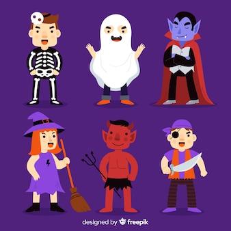 Verzameling van halloween karakter op platte ontwerp