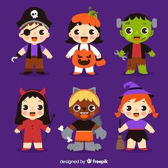 Verzameling van halloween kind kostuums