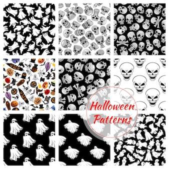 Verzameling van halloween naadloze patronen
