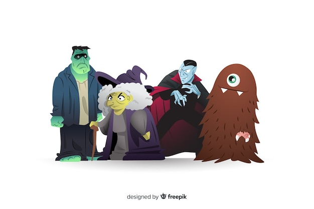 Verzameling van halloween-personages