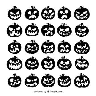 Verzameling van halloween pompoen silhouet